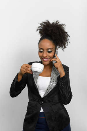 Portrait of young beautiful African businesswoman with Afro hair