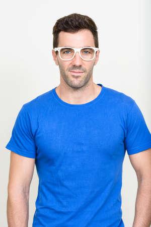 Portrait of handsome Hispanic man with beard stubble Stock Photo