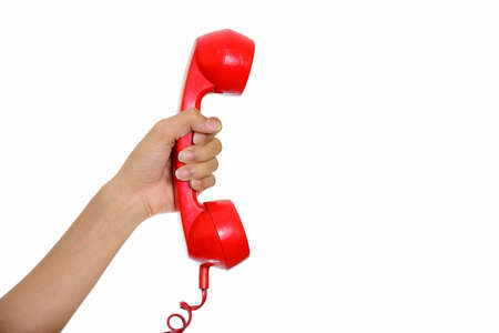 Portrait of hand giving telephone against white background