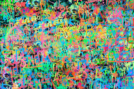 Colorful wall with abstract writings