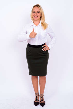 Portrait of happy young beautiful businesswoman with blond hair