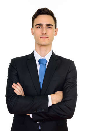 Studio shot of young handsome Caucasian businessman isolated against white background Imagens