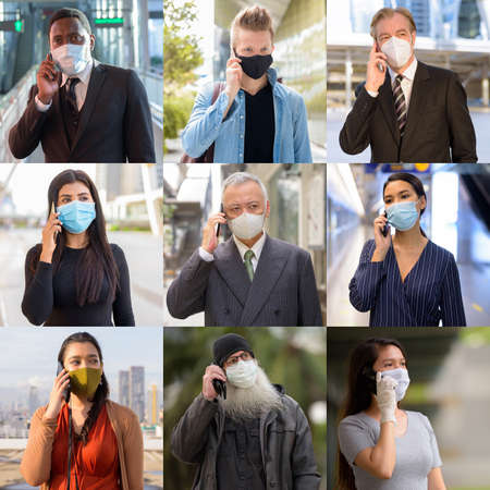 Collage of people wearing protective facial mask and talking on the phone Banco de Imagens