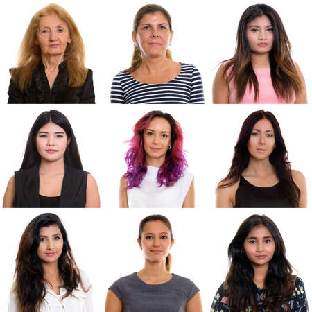 Collage of multi ethnic and mixed age businesswomen