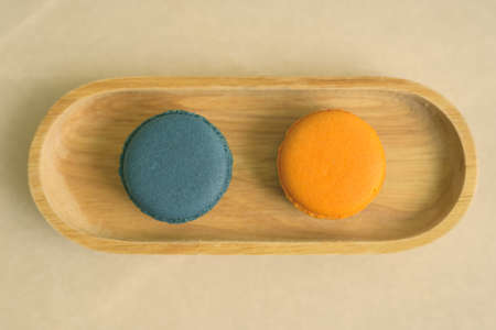 Portrait of Two Macaroons Served On Table 스톡 콘텐츠
