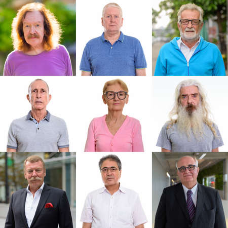 Collage of diverse senior people looking at camera