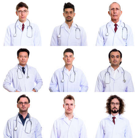 Collage of multi ethnic and mixed age men as doctors