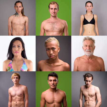 Collage of multi ethnic and mixed age people shirtless