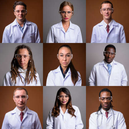 Collage of diverse multi ethnic and mixed age scientists