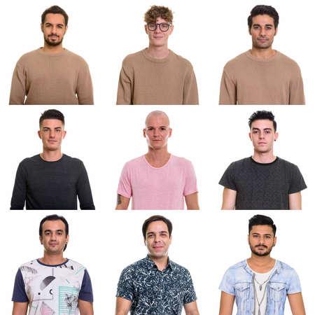 Collage of multi ethnic and mixed age men Foto de archivo