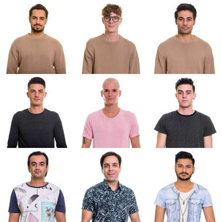 Collage of multi ethnic and mixed age men Reklamní fotografie