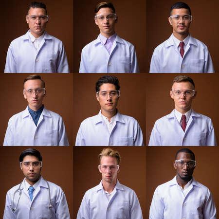 Portraits of doctors and scientist looking at camera shot in studio Archivio Fotografico