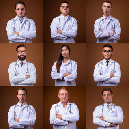 Portraits of doctors and healthcare workers looking at camera shot in studio Archivio Fotografico