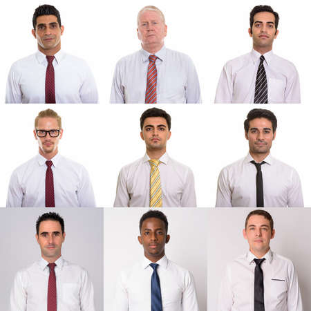 Portraits of an ethnically diverse and mixed age group businessmen