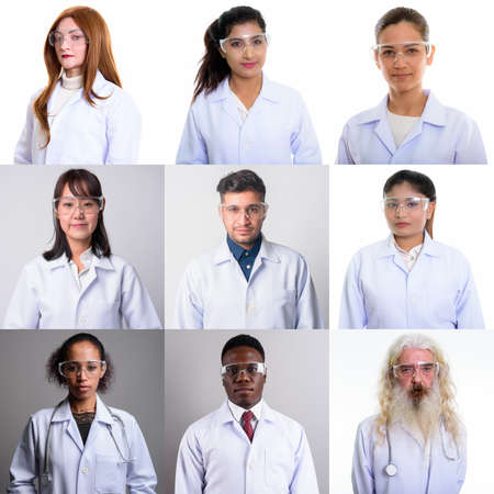 Collage of doctors and healthcare workers looking at camera shot in studio