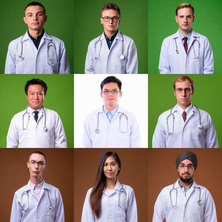 Portraits of doctors and healthcare workers looking at camera shot in studio 免版税图像