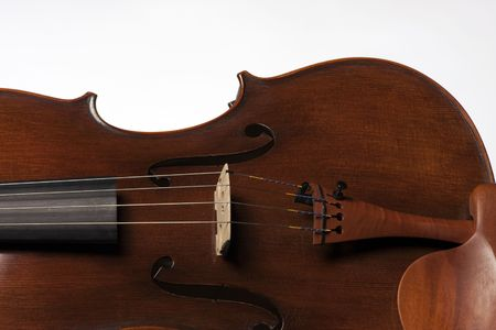 horizontal format horizontal: A violin viola body isolated against a white background in the horizontal format with copy space. Stock Photo