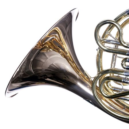 A gold brass French horn close up isolated against a white background  in the square format.