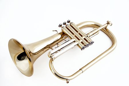 Een gouden trompet bugel geïsoleerd tegen een witte achtergrond in het horizontale formaat.