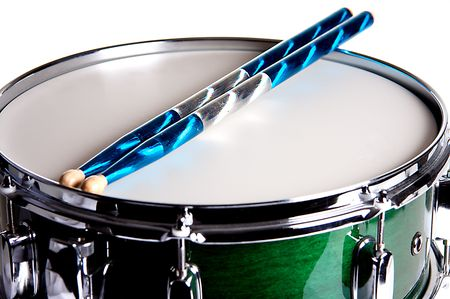 snare: A green snare drum isolated against a white background in the horizontal format with copy space. Stock Photo