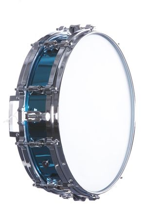 vertical format: A metallic blue snare drum isolated against a white background in the vertical format.