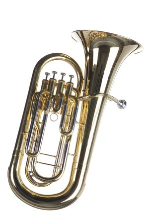 A gold brass euphonium tuba baritone horn isolated against a white background. Stock Photo
