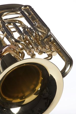 A bass tuba euphonium music instrument isolated against a high key white background.