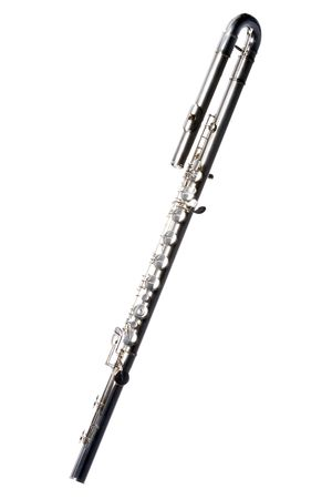 A complete silver bass flute Isolated against a white background in the vertical format.