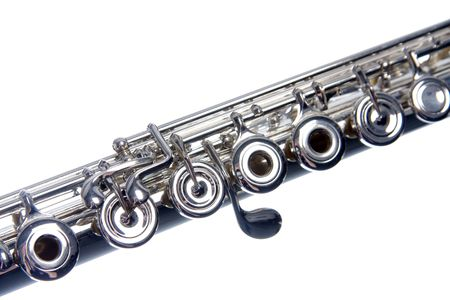 A silver flute isolated against a white background in the horizontal format. Stock Photo