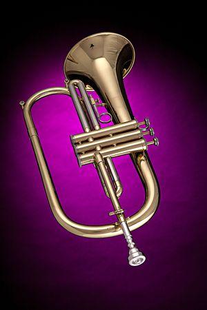 flugelhorn: A gold brass trumpet flugelhorn isolated against a spotlight pink background.
