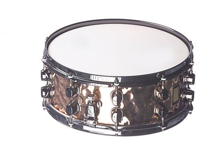 snare: A professional copper snare drum instrument isolated against a white background.