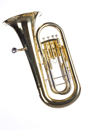 A gold brass tuba euphonium isolated against a white background in the vertical format.