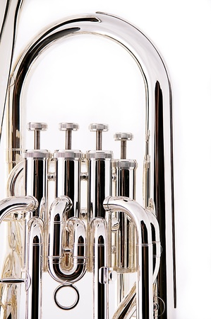 A silver bass tuba euphonium against a white background in the vertical format with copy space.