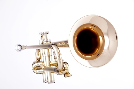 a professional gold trumpet isolated against a white background in the horizontal format.