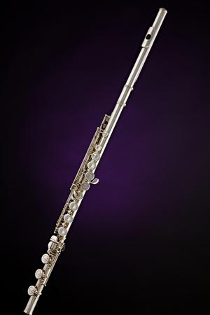 ライト紫の背景に対して隔離される専門の銀の横笛の楽器。 写真素材