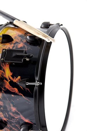 snare: A flaming fire snare drum isolated on white background in the vertical format with copy space.