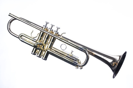horizontal format horizontal: A trumpet isolated against a white background in the horizontal format with copy space.