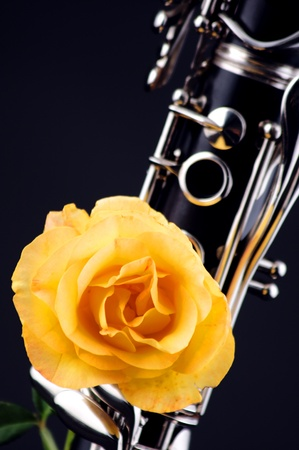 A yellow rose mounted on soprano clarinet isolated against a black background in the  vertical format. photo