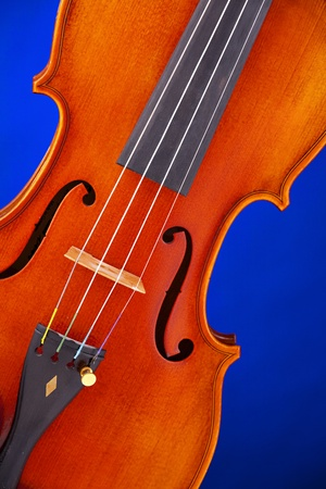 violins: A violin viola body isolated against a blue background in the vertical fromat.