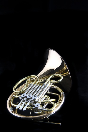 A gold brass French Horn isolated against a black background in the vertical format with copy space.