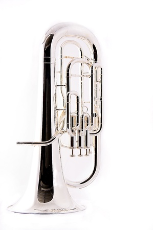A complete silver bass tuba euphonium against a white background in the vertical format with copy space.