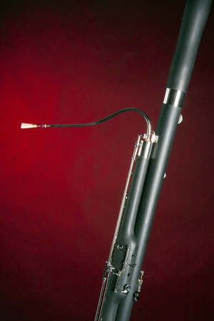 A Bassoon music instrument isolated against a red spotlight with copy space in the vertical format.