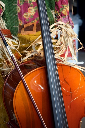 A cello string bass in a fall Thanksgiving or Halloween setting. Stock Photo