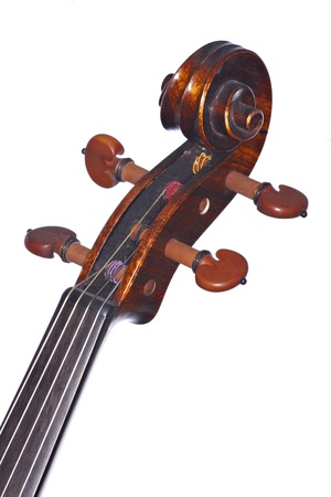 A violin viola scroll isolated against a white background in the vertical format.