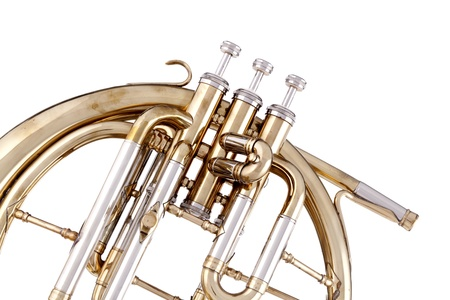 french horn: An antique peckhorn or French horn isolated against a white background.