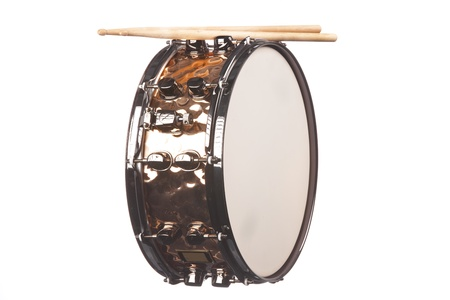 percussionist: A copper snare drum with sticks isolated against a white background in the horizontal format. Stock Photo