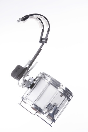 A marching snare drum isolated against a white background in the vertical format. Stock Photo