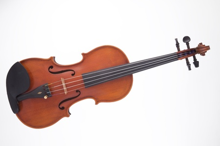 horizontal format horizontal: A professional wooden violin viola isolated against a white background in the horizontal format.