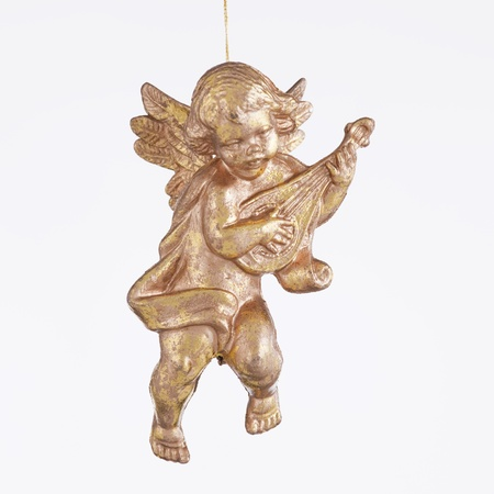 An angel playing a lute ornament against a white background in the square format.