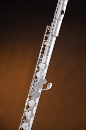 silver flute: A silver alto flute music instrument on a spotlight gold background with copy space.